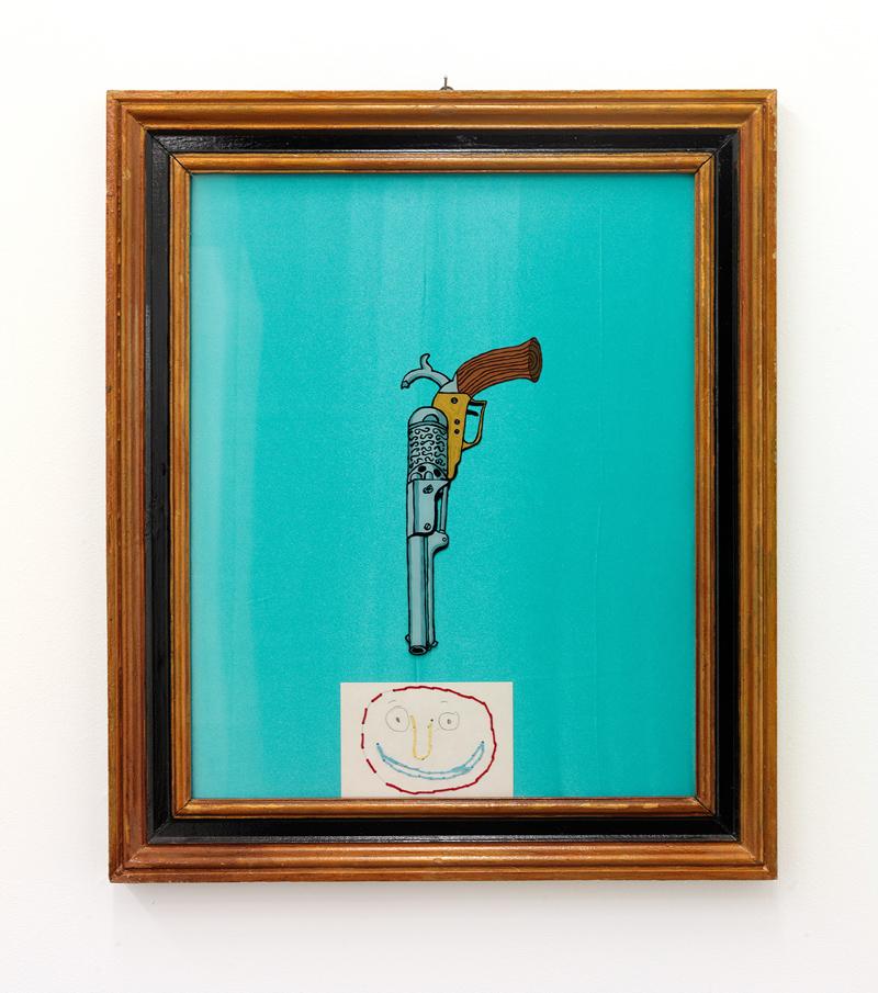 En Colt och en glad gubbe Vinylfärg på glas, textil, papper