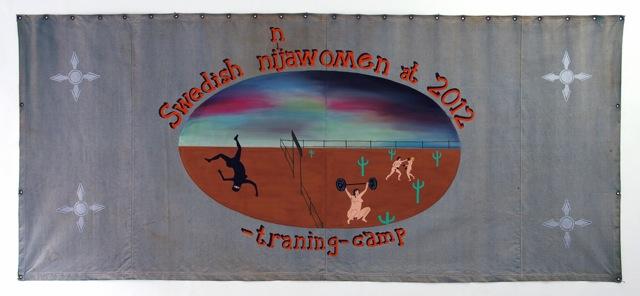 Swedish ninjawomen at 2012 training-camp Storlek 280 X 130 cm vinylfärg på canvas Zapatistledaren