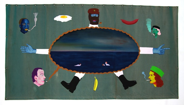 Zapatistledaren Storlek 260 X 120 cm vinylfärg på canvas