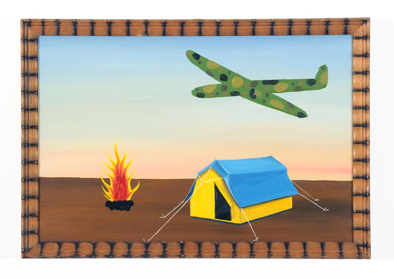 Tältet B 43 H 30 cm olja på pannå