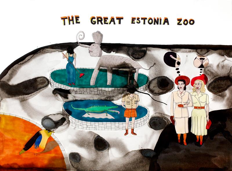 En dag på zoo / 55x85cm tusch på akvarellpapper