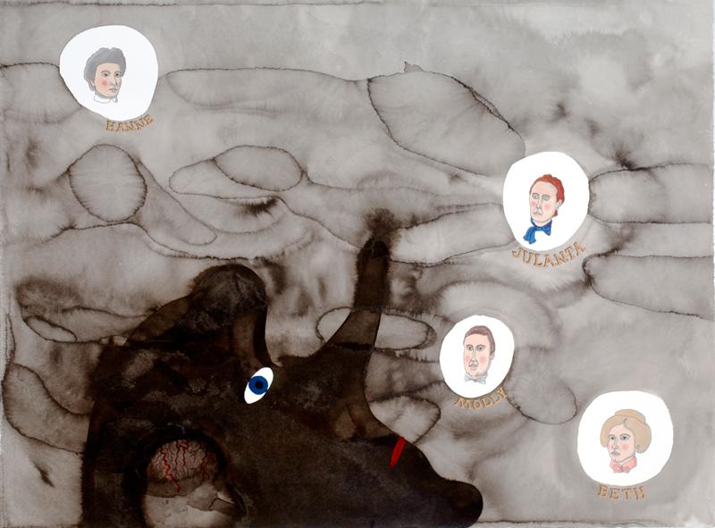 Minnen 2009 55x85cm tusch på akvarellpapper